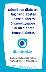 "Minulla on diabetes -kortti - Id-kort ""Jag har diabetes"""